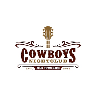 Projekt logo typografii country music bar