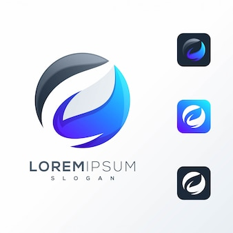 Projekt logo ujemnego liścia przestrzeni gotowy do użycia