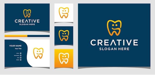 Projekt logo uśmiechu dentystycznego z szablonem wizytówki