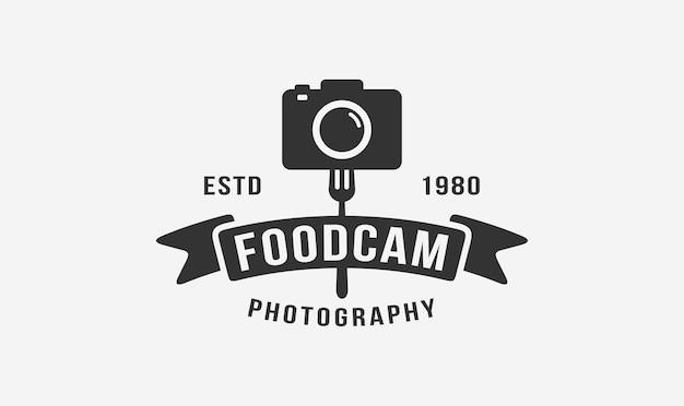 Projekt logo vintage fotograf żywności.