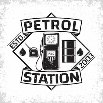 Projekt logo vintage stacji benzynowej, emblemat stacji benzynowej, emblemat typographyv stacji benzynowej lub oleju napędowego, drukowanie znaczków z łatwym do usunięcia folwarkiem