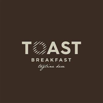 Projekt logo vintage toast z dawną ilustracją logo grilla
