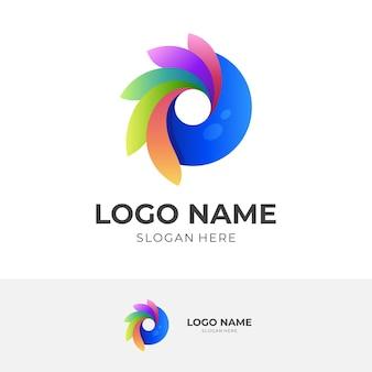 Projekt logo vision w kolorowym stylu 3d