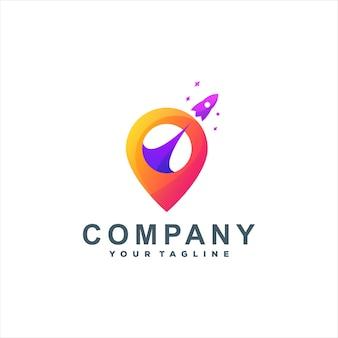 Projekt Logo W Kolorze Lokalizacji Rakiety Premium Wektorów