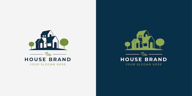Projekt logo w stylu negatywnej przestrzeni domu