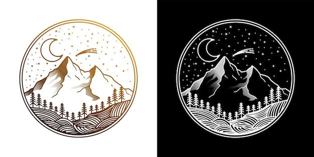 Projekt logo w stylu vintage w nocy