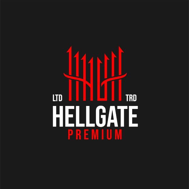 Projekt logo wektor premium hell gate