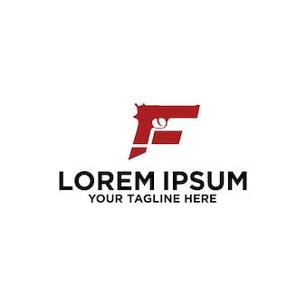 Projekt logo z inicjałową literą f gun fire