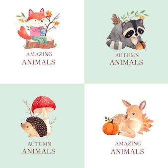 Projekt logo z jesiennym zwierzęciem w stylu akwareli