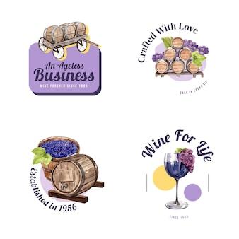 Projekt logo z koncepcją farmy wina dla brandingu i marketingu ilustracji akwarela.