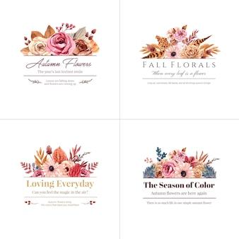 Projekt logo z koncepcją jesiennego kwiatu dla marki i marketingowej ilustracji akwarela.