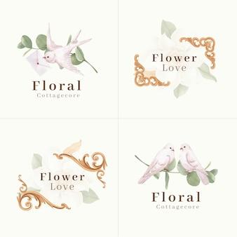 Projekt logo z koncepcją kwiatów cottagecore, styl akwareli