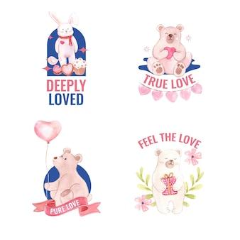 Projekt logo z koncepcją loving you dla brandingu i biznesowej ilustracji akwarela