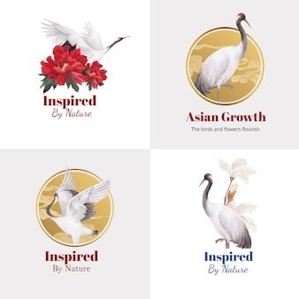 Projekt logo z koncepcją ptaka i chińskiego kwiatu, styl akwareli