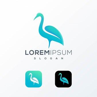 Projekt logo z liści bociana gotowy do użycia