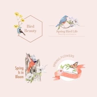 Projekt logo z ptakami i koncepcją wiosny