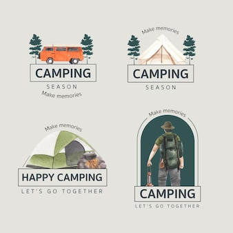 Projekt logo z szczęśliwą koncepcją kampera