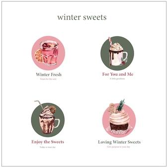 Projekt logo z zimowymi słodyczami w stylu przypominającym akwarele