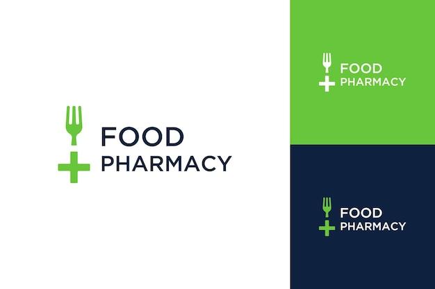 Projekt logo zdrowej żywności lub widelec ze znakiem plus