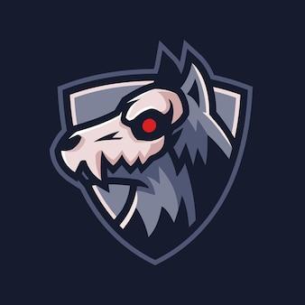 Projekt logo zespołu głowy czaszki bestii wilka