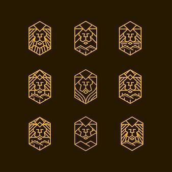 Projekt logo zestawu linii lwa