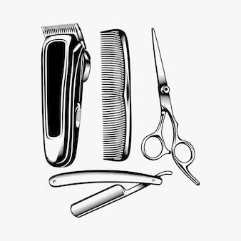 Projekt logo zestawu sprzętu fryzjerskiego inspiracji