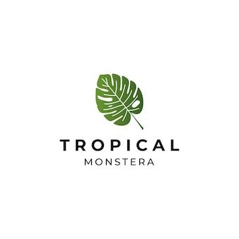 Projekt logo zielonego liścia monstery