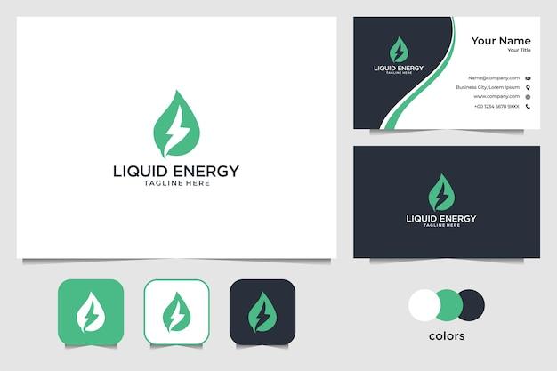 Projekt logo zielonej płynnej energii i wizytówki
