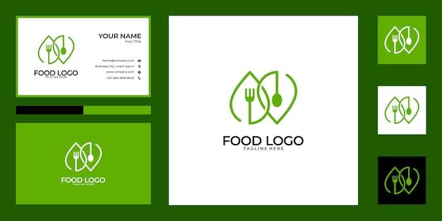 Projekt logo zielony łyżka i widelec i wizytówka. dobre wykorzystanie logo restauracji żywności