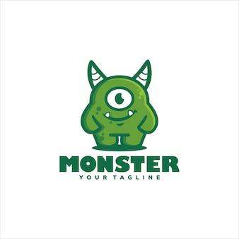 Projekt Logo Zielony Potwór ładny Premium Wektorów