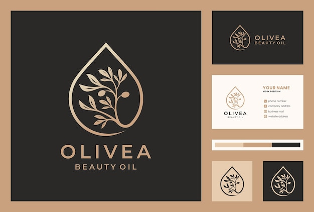 Projekt logo złoty olej z oliwek / kropla wody z szablonem karty busniess.