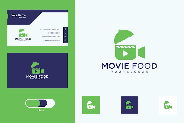 Projekt logo żywności i wizytówki filmowej
