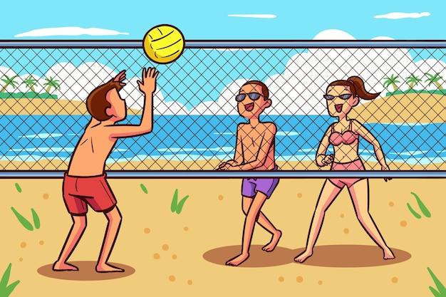 Projekt ludzi na plaży