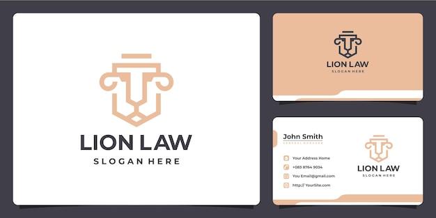 Projekt luksusowego logo firmy lion i wizytówki