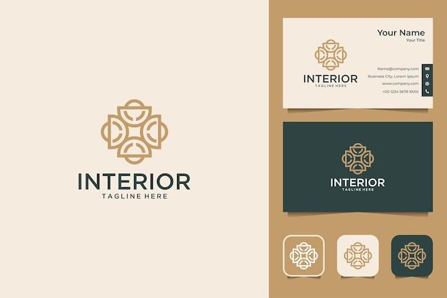Projekt luksusowego logo geometrii wnętrza i wizytówki
