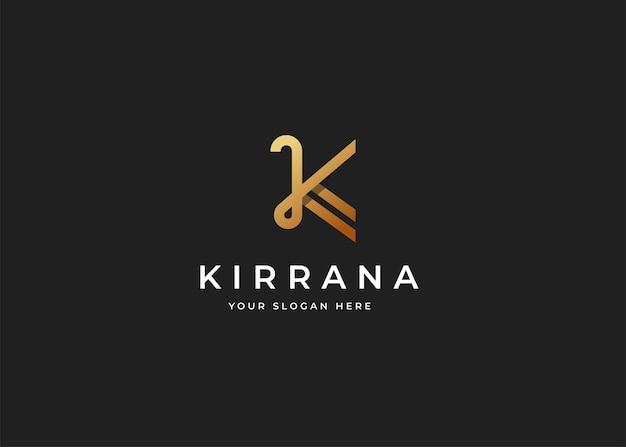 Projekt luksusowego logo litery k