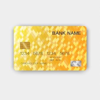 Projekt luksusowej karty kredytowej z błyszczącego plastiku. z inspiracją z abstrakcji. żółty kolor