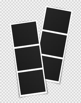 Projekt makiety ramki na zdjęcia. ramka na zdjęcia na taśmie klejącej na przezroczystym tle.