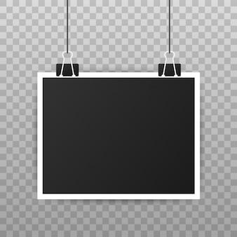 Projekt makiety ramki na zdjęcia. realistyczna fotografia z pustą przestrzenią