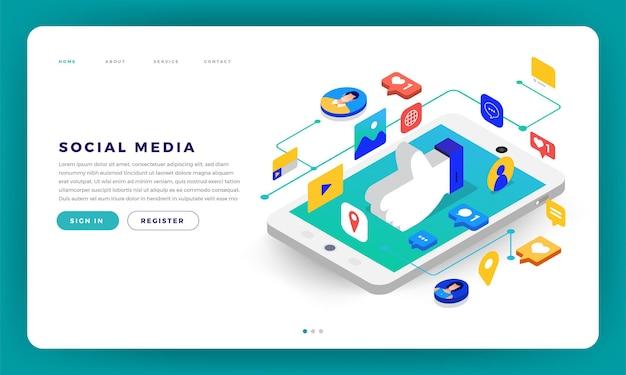 Projekt makiety strony internetowej koncepcja płaska aplikacja mobilna social media