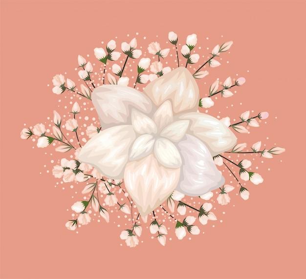 Projekt malowania białych kwiatów, naturalny kwiatowy ornament roślinny dekoracja ogrodowa