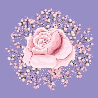 Projekt malowania różowego kwiatu róży, naturalny kwiatowy ornament roślinny dekoracja ogrodowa i ilustracja motyw botaniczny