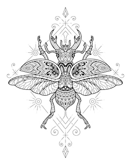 Projekt mandali chrząszcza skarabeusza. kolorowanka