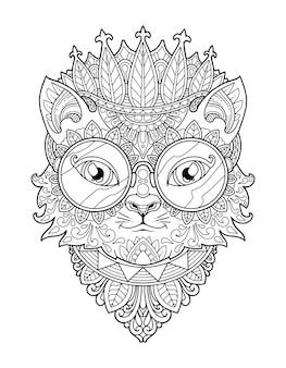 Projekt Mandali Do Kolorowania Głowy Kota. Projekt Druku. Premium Wektorów