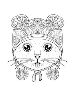 Projekt mandali do kolorowania głowy kota. projekt druku.