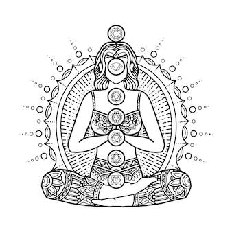Projekt mandali jogi, kolorowanie strony dla dorosłych lub projekt koszulki