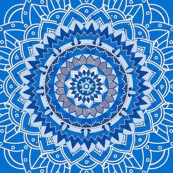 Projekt mandali na niebieskim tle