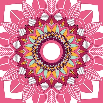 Projekt mandali na różowym tle