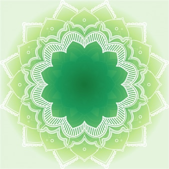Projekt mandali na zielonym tle