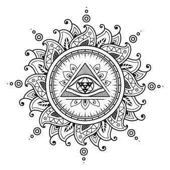 Projekt mandali trzeciego oka. kolorowanka lub nadruk koszulki.